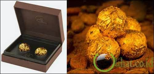 Chocolates with Edible Gold by DeLafee (Neuchatel, Swiss)