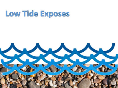 Picture depicts how low tide exposes things beneath