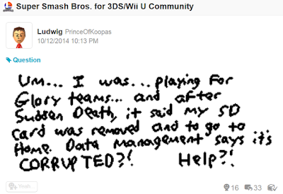 Miiverse Super Smash Bros. data management SD card corrupted