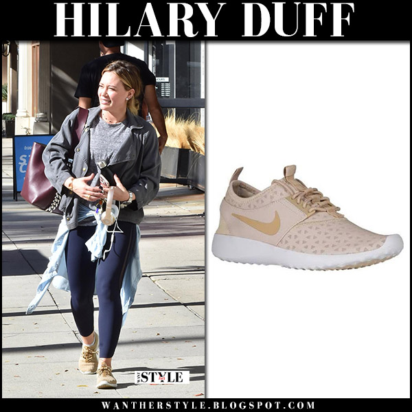 Hilary Duff in grey jacket, blue leggings and beige sneakers nike juvenate street fashion november 21