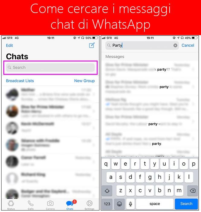 Come cercare i messaggi chat di WhatsApp