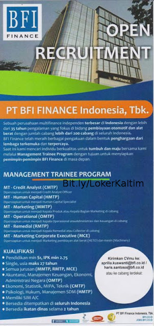 Lowongan Kerja 2018 PT BFI Finance Indonesia