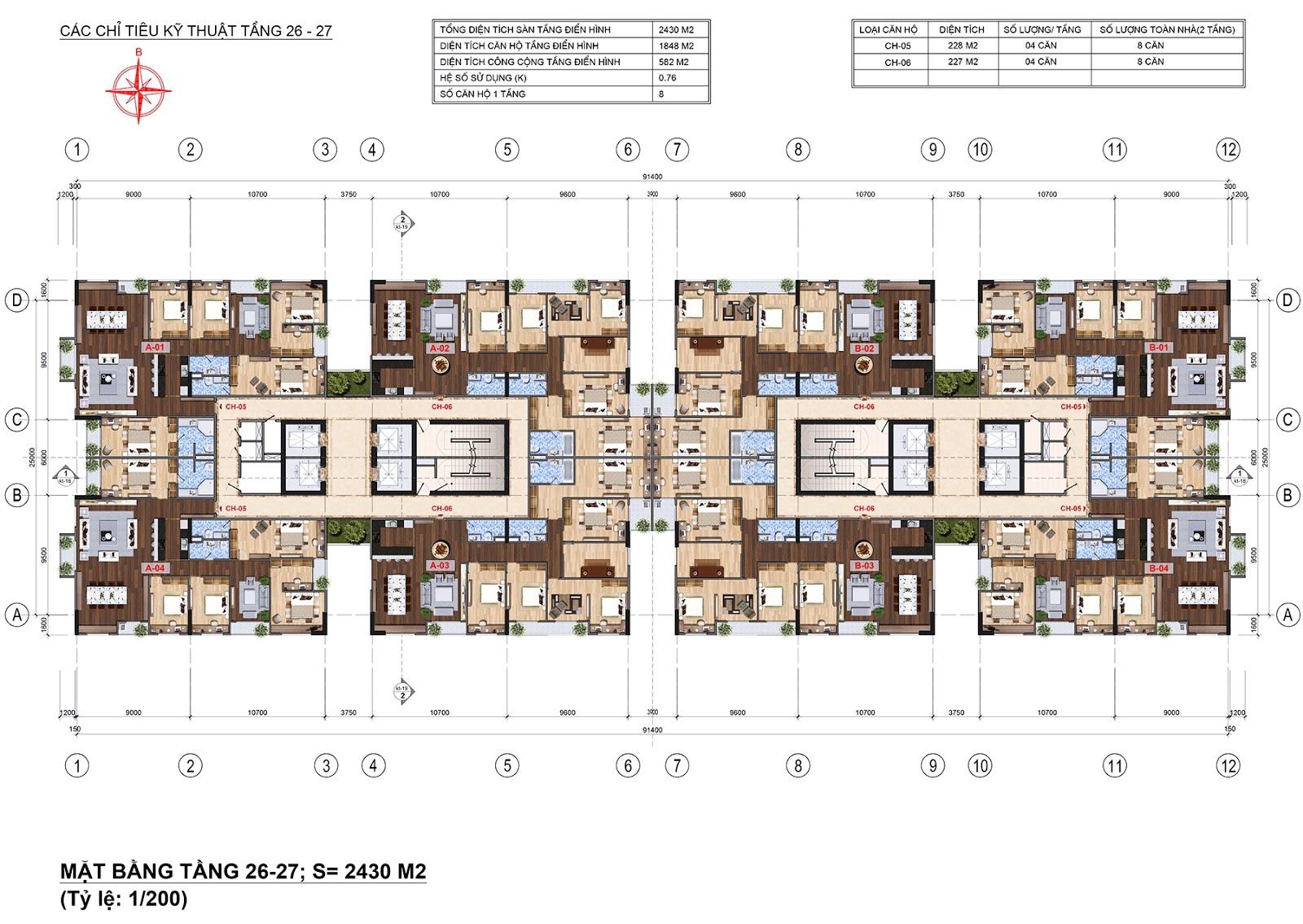 Mặt bằng tầng 26 - 27 chung cư Lạc Hồng 2