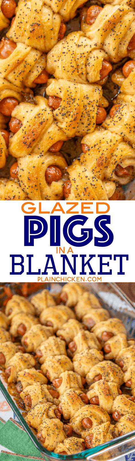 Glazed Pigs in a Blanket - pigs in a blanket baked in a sweet and savory brown sugar glaze. Took these to a party and they were gone in minutes!!! Crescent rolls, dijon mustard, little smokies, brown sugar, butter, poppy seeds and Worcestershire sauce. I have zero self-control around these things! Dangerously delicious!! A MUST for all your tailgates and parties! #tailgating #Pigsinablanket #partyfood #appetizer