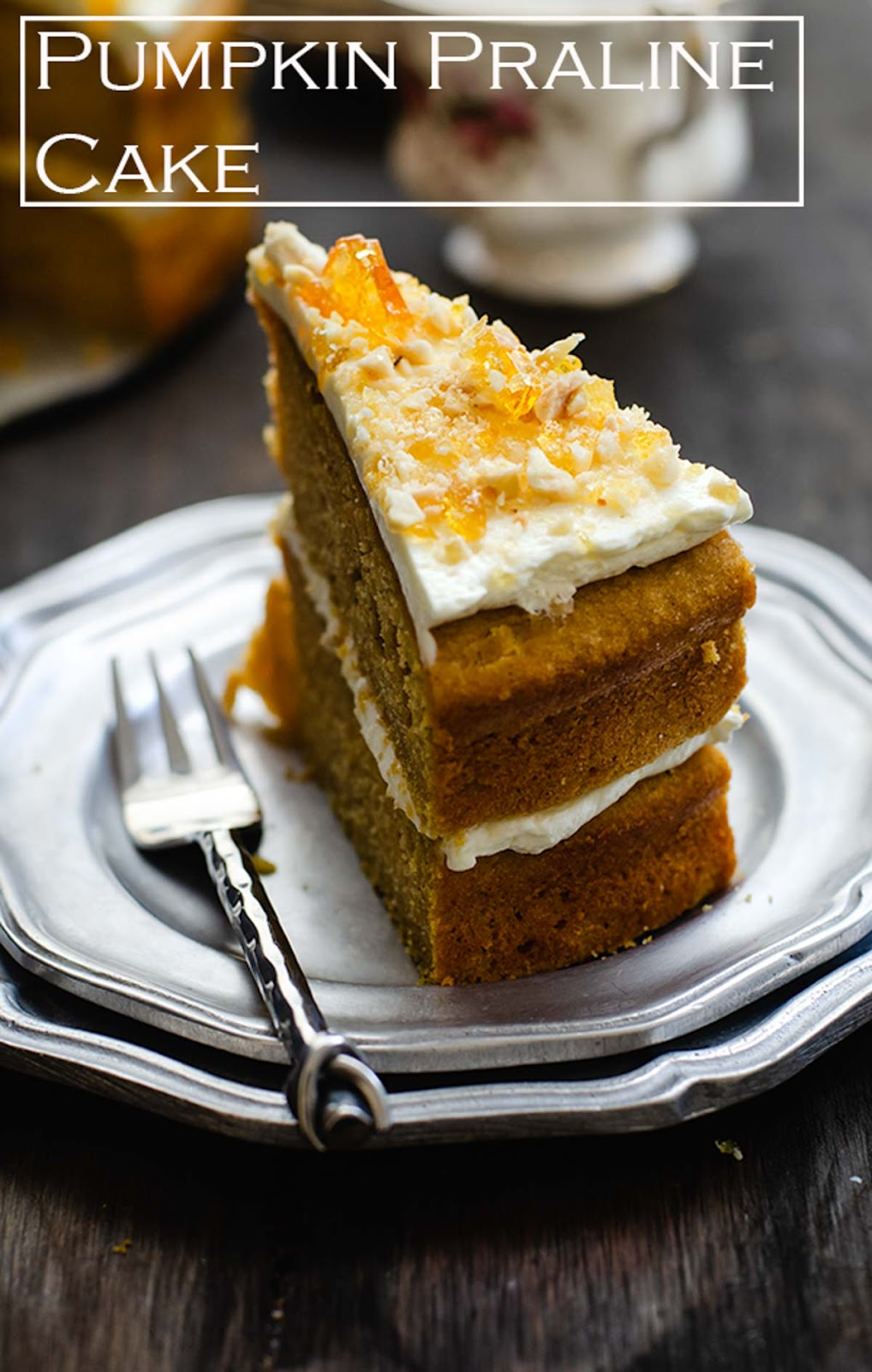 Deliciously sweet. moist roasted pumpkin cake with crunchy almond praline. Roasted pumpkin puree adds smokey roasted sweetness flavour to the Pumpkin Praline Cake.