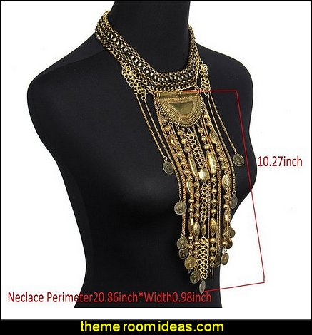 Bohemian Ethnic Tribal Boho Beads Coin Fringe Statement Necklace