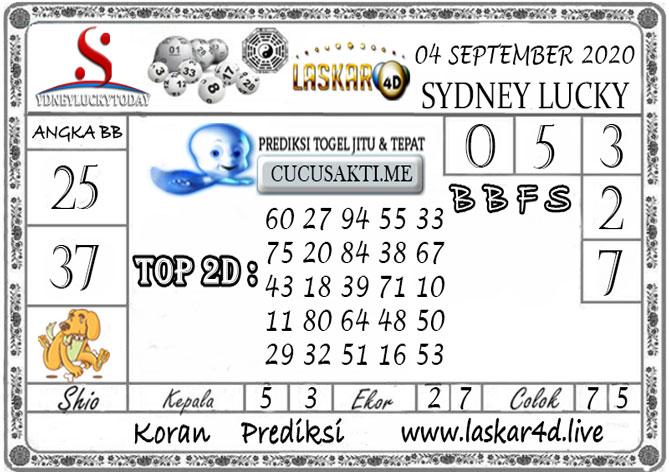 Prediksi Sydney Lucky Today LASKAR4D 04 SEPTEMBER 2020