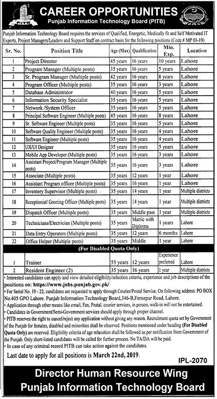 Punjab Information Technology Board PITB Jobs March 2019  Total (Vacancies 60)