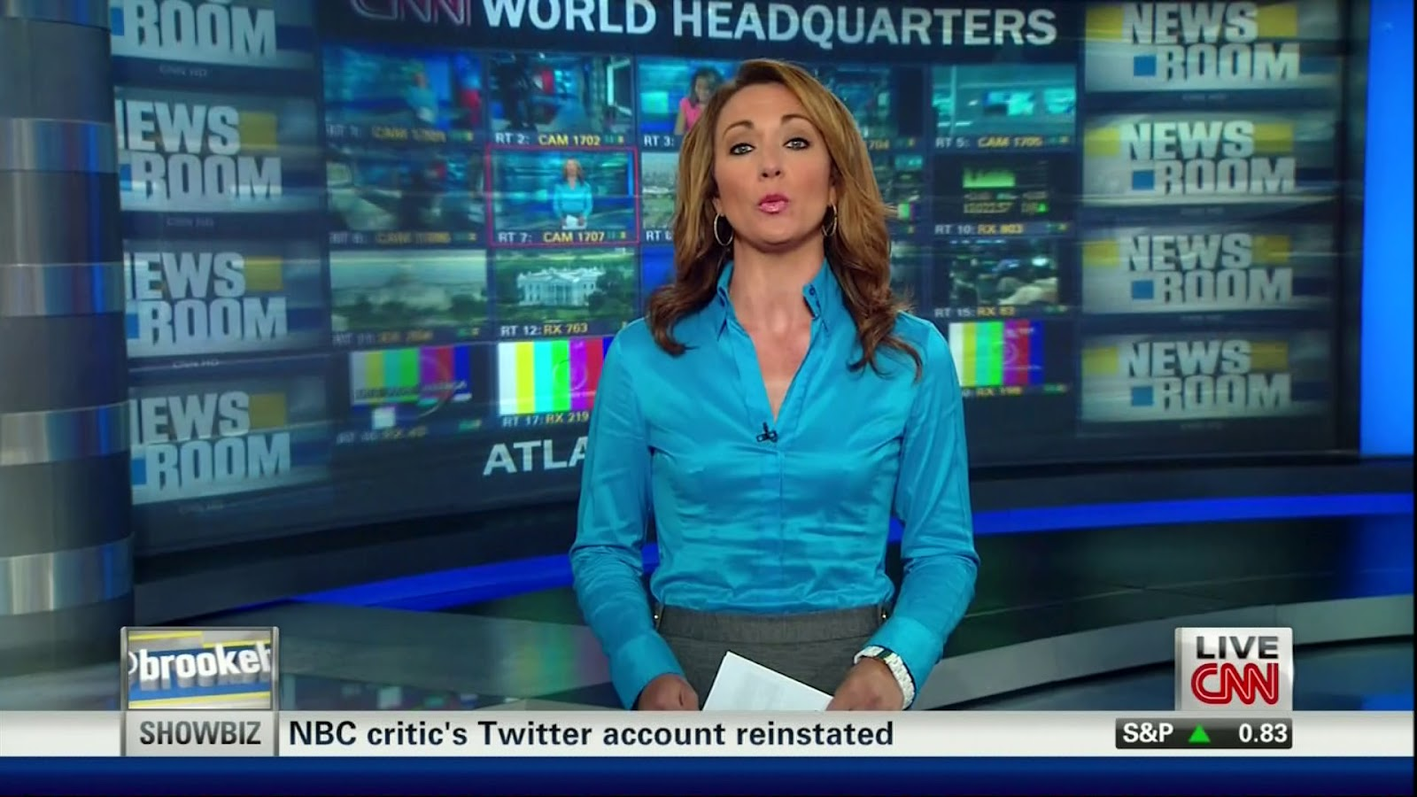 Ladies In Satin Blouses Brooke Baldwin Sky Blue Silk