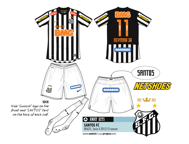 9a5032b84 The white and black traditional away Santos shirts has making history since  1912. Santos marked its 100th anniversary of the colonial heritage of
