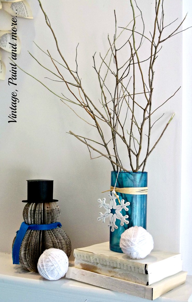 Vintage, Paint and more... book page snowman, faux sea glass vase for winter mantel