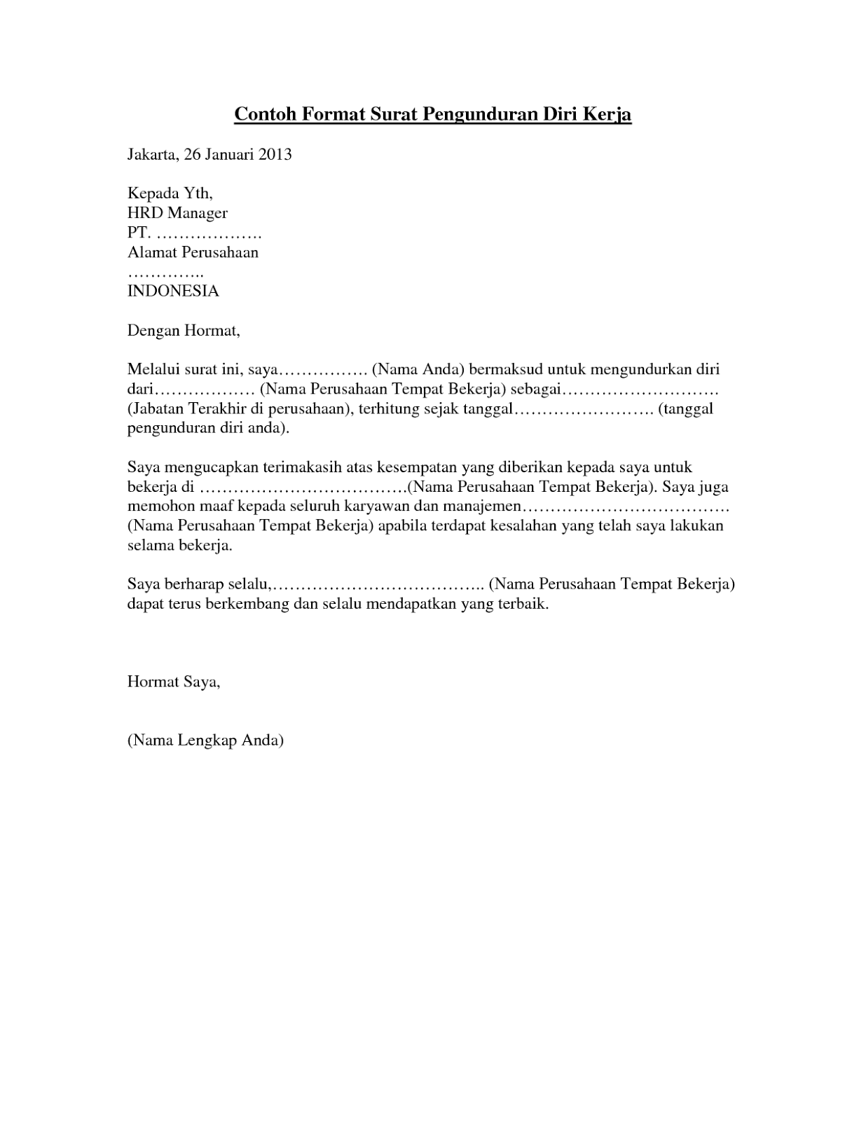 Contoh Surat Pengunduran Diri Resign Kerja Yang Baik Dan Benar