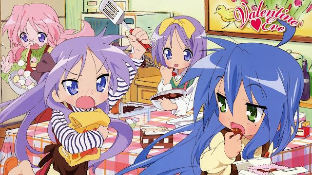 Konata Izumi zajadająca się walentynkowymi czekoladkami - bohaterki anime Lucky Star