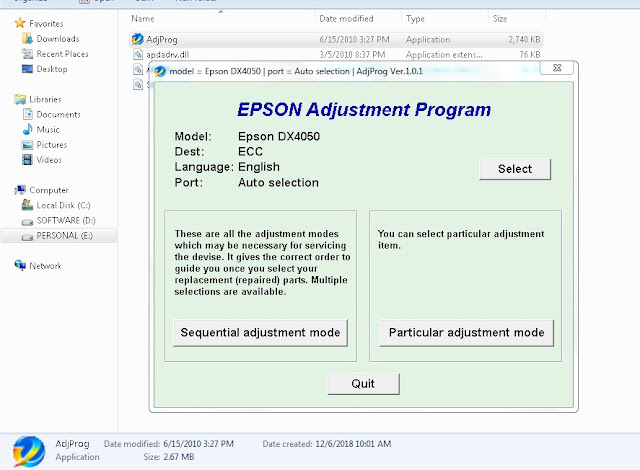Epson Stylus DX4450 Adjustment Program