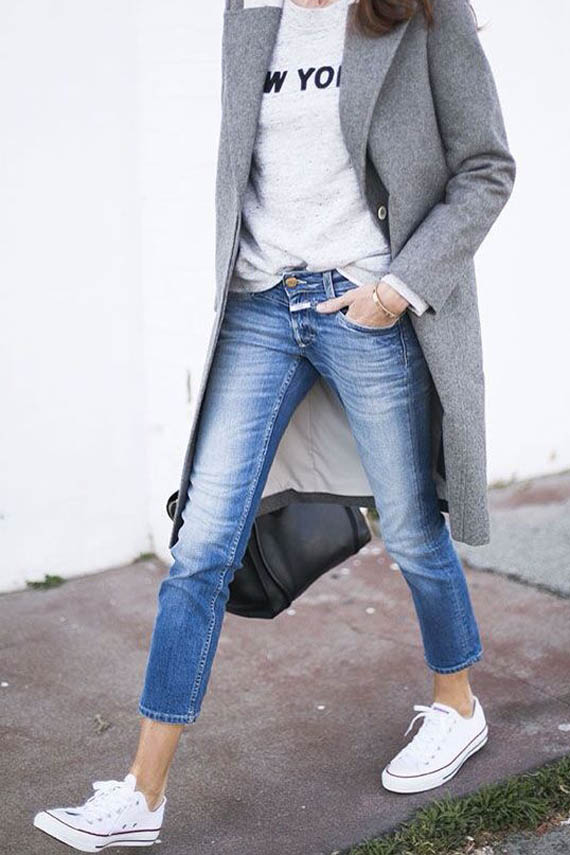 casual style look: denim, converse and grey coat