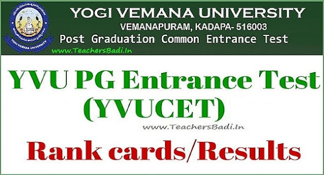 yvucet 2019 rank cards,results,yvupgcet counselling dates 2019,certificates verification,pg admissions counselling schedule,hall tickets,www.yvudoa.in