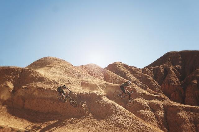 Riding Bicycle at Rock Hills at Sahara Desert