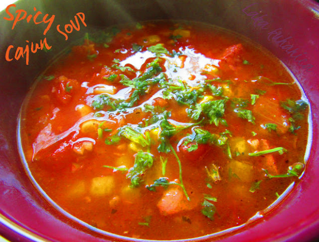 Spicy Cajun soup by Laka kuharica: combination of corn, sausage and tomatoes makes this delicious  Deep South soup.