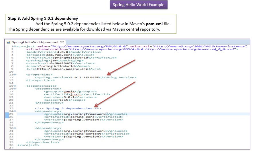 JAVA EE: How to create spring hello world project using maven