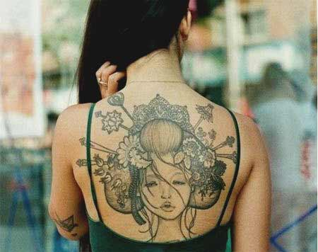 Geisha tattoos designs on back ideas for women