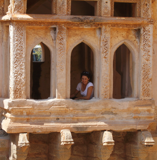 Posing at the Queen's Bath, Hampi, India