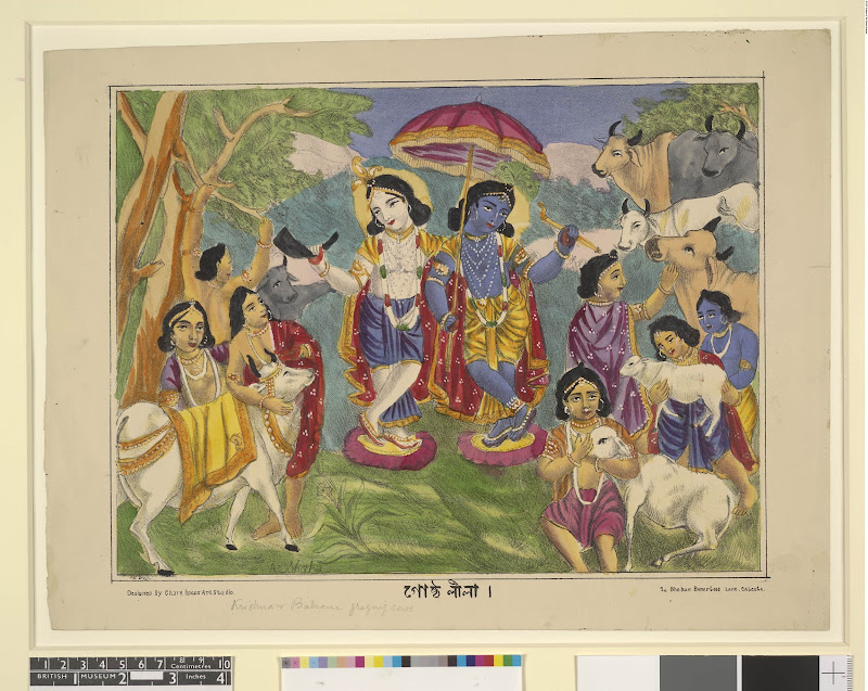 Krishna and Gopas (Gostha Lila) - Hand Coloured Lithograph