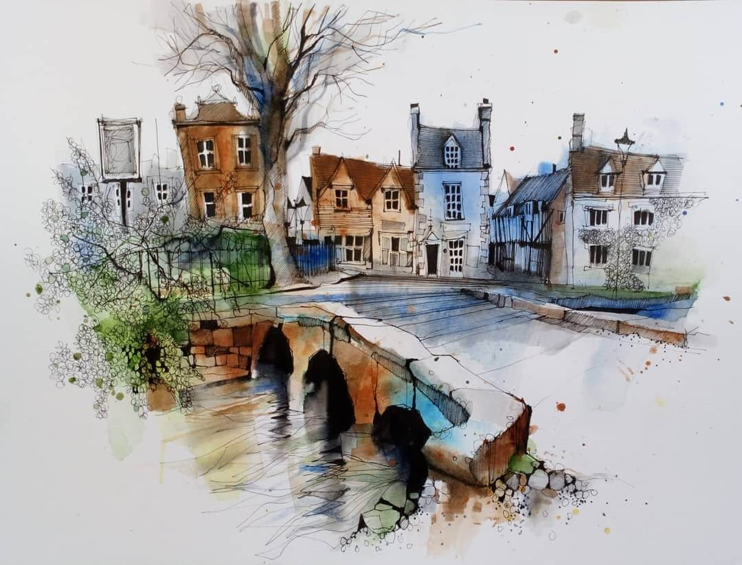 12-Bourton-on-the-Water-Ian-Fennelly-Urban-Sketches-Colorfully-Painted-www-designstack-co