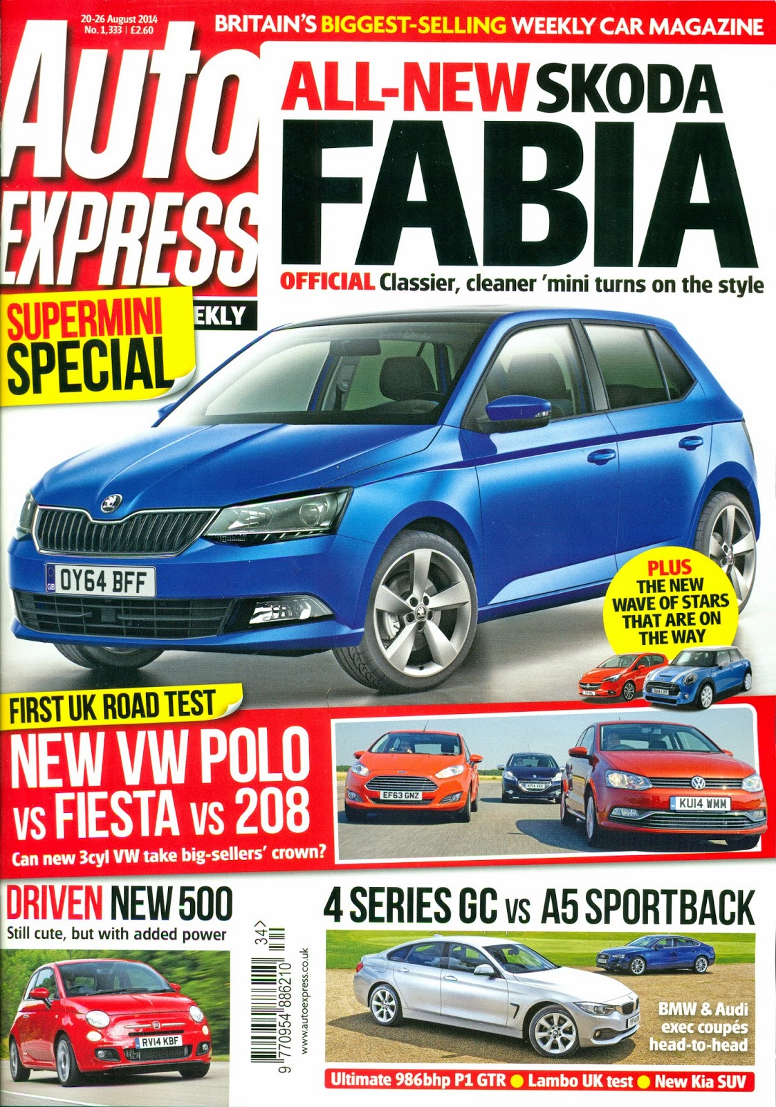 Auto Express Issue No 1,333 20-26 August 2014 Front Cover