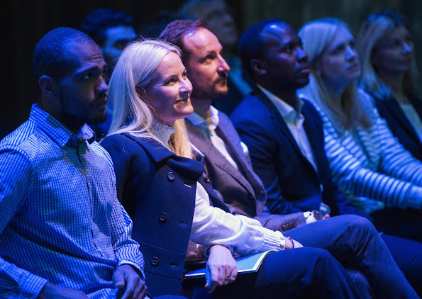 Crown Prince Haakon of Norway and Crown Princess Mette-Marit of Norway attended a panel on youth, education and entrepreneurship, newmyroyals, diamond tiara, diamond earrings, diamond jewelery