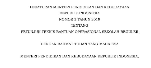 Juknis BOS Terbaru SD, SMP, SMA, SMK, SLB Sederajat,  Permendikbud Nomor 3 Tahun 2019