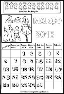 Calendário de 2016 - março