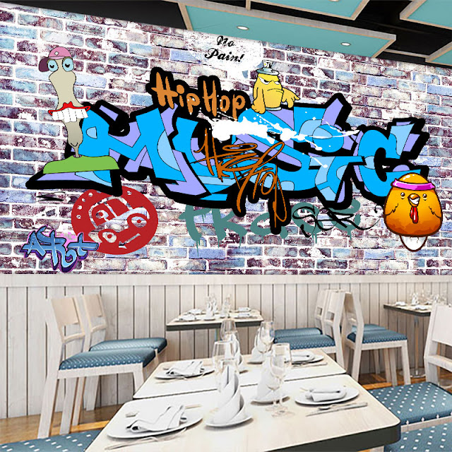Graffiti Wall Murals Brick Wall Blue Youth Room