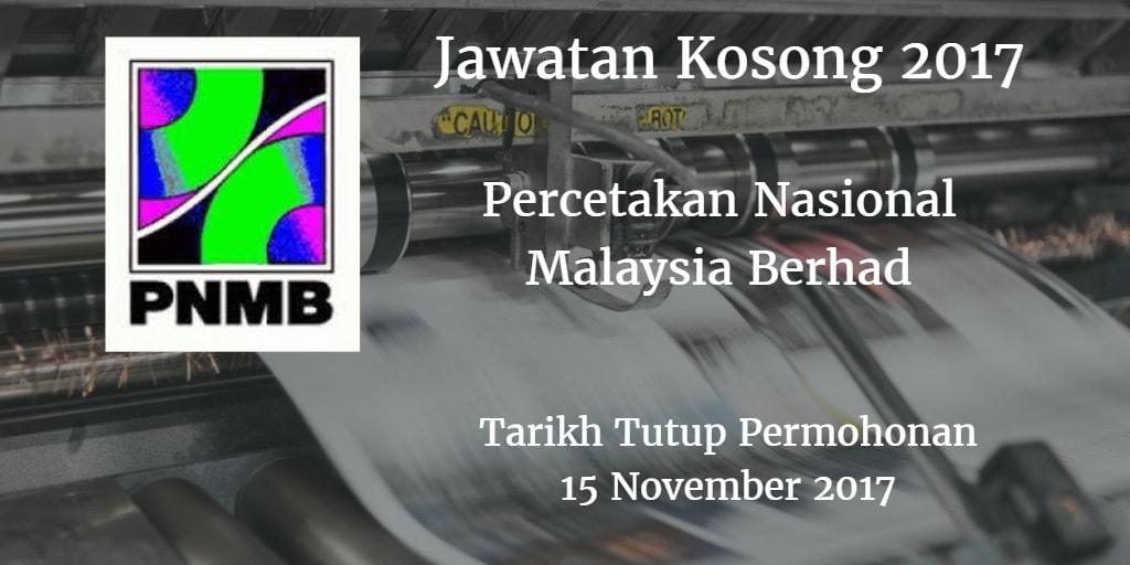 Jawatan Kosong PNMB 15 November 2017