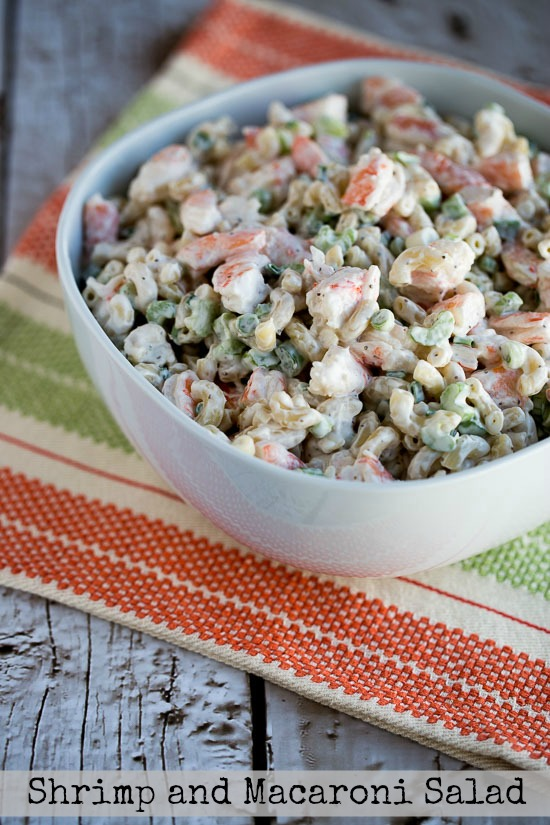 shrimp and macaroni salad for dad found on KalynsKitchen.com