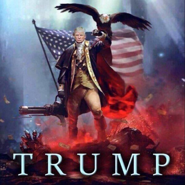 Trump meme. Dressed as George Washingon, in front of the US flag, holding a large machine gun, Bald eagle perched on his arm. Fire and explosions at his feet. Mutual Assured Lunacy, postscript and Other stories of Trump and Megalomaniacs. marchmatron.com.jpg