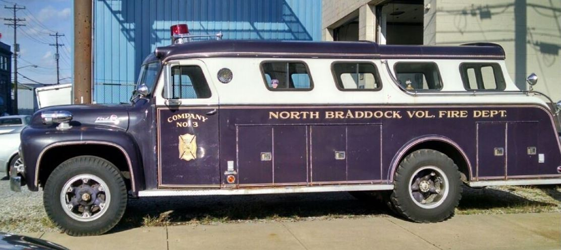 Just a car guy whoa cool 1955 ford f750 fire rescue truck the truck wears north braddock volunteer fire dept co 3 lettering and graphics and paint seems liked itd look decent from twenty feet or so publicscrutiny Choice Image