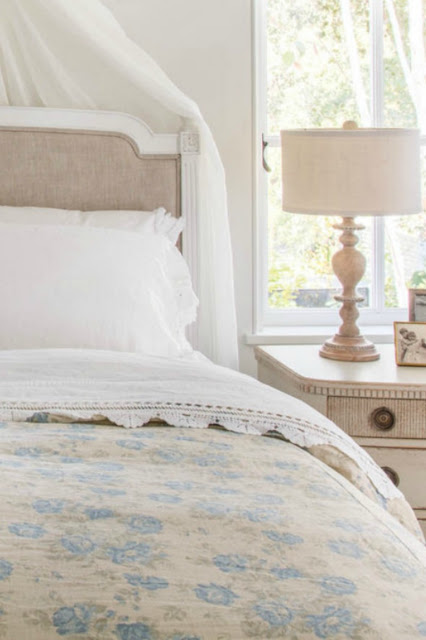Romantic French Country interior design style in neutral bedroom - found on Hello Lovely Studio