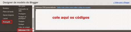 colocar css no blogger