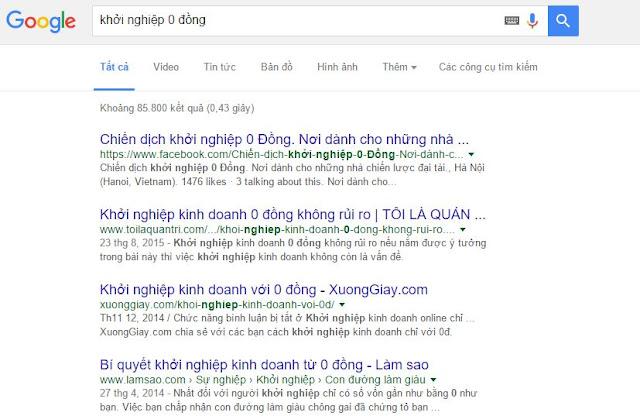 Fanpage facebook lại đứng top từ khóa Kinh Doanh 0 Đồng