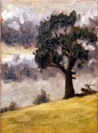 Oil painting of a manna gum on a hillside with dry grass and stormy cumulus clouds in the background.