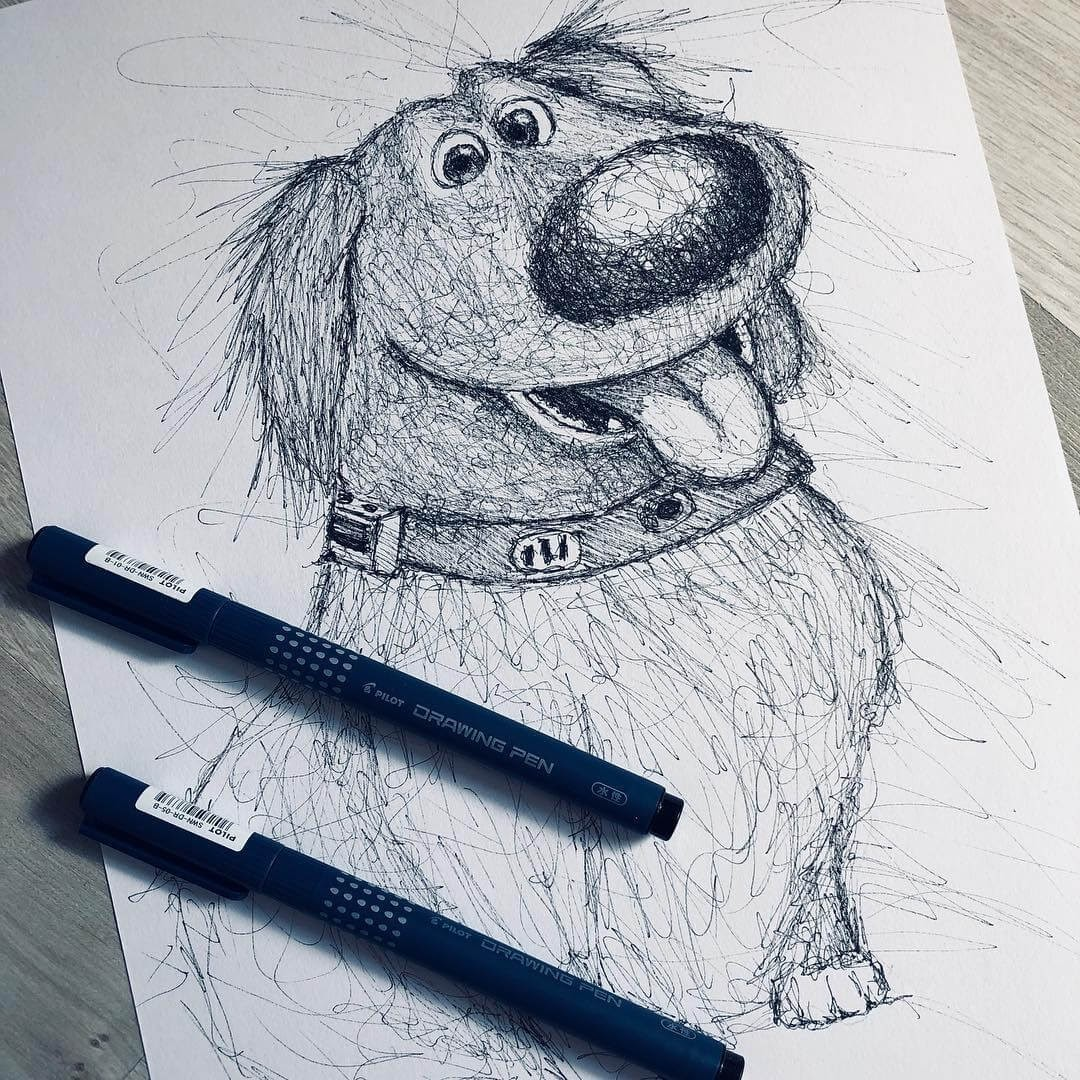 14-Dug-from-UP-Jimmy-Mätlik-Fantasy-Animal-drawings-form-the-Movies-www-designstack-co