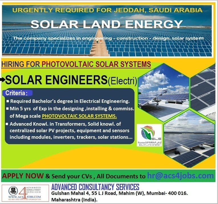 Solar Land Energy required in Jeddah