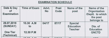 image : DSSSB PRT Exam Schedule 2018 (Special Education Teacher) @ TeachMatters