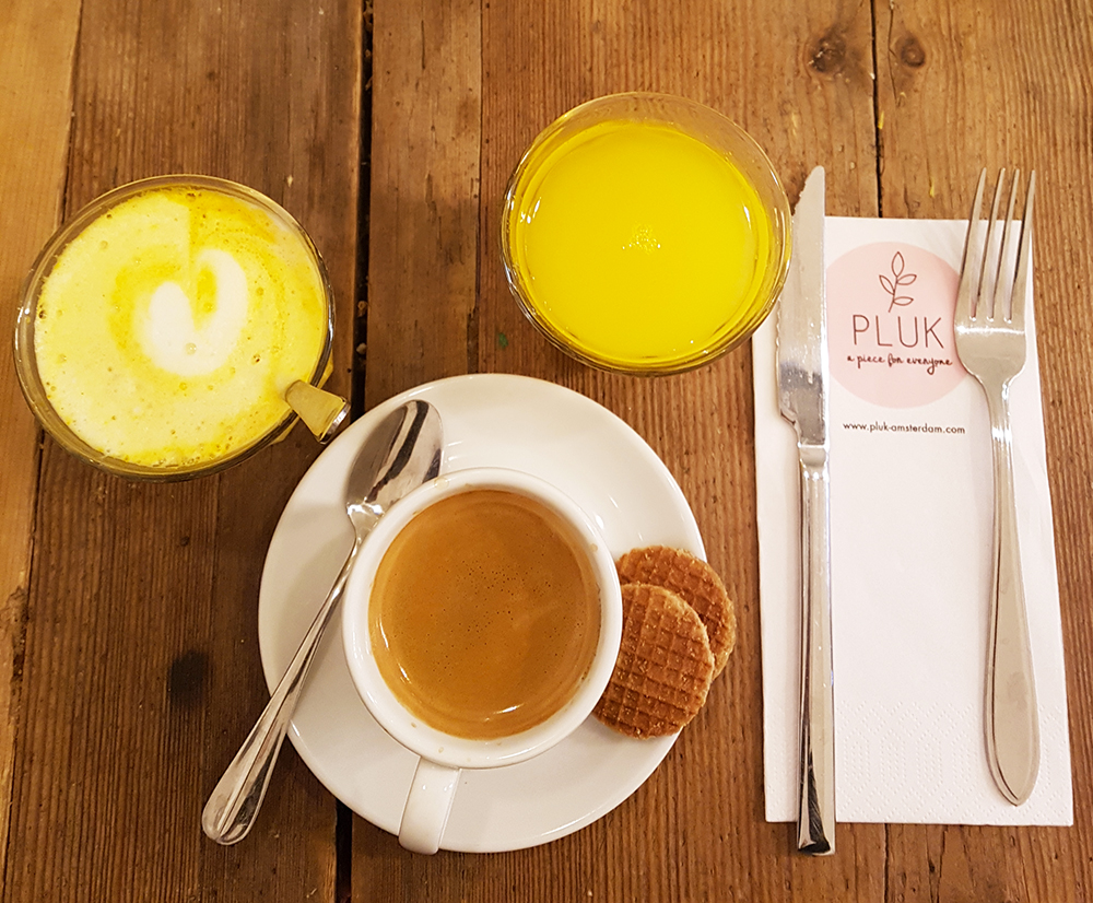 Coffee, juice and breakfast at Pluk in Amsterdam