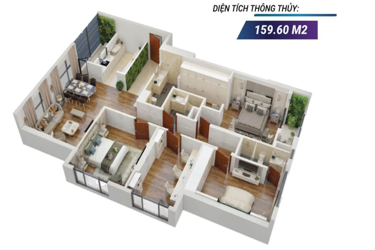 Mặt bằng 3D căn hộ 02 tòa Sapphire 2