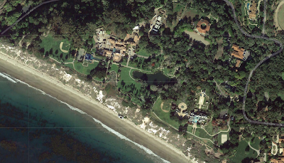 Satellite image of mansions on the beach in Santa Barbara.