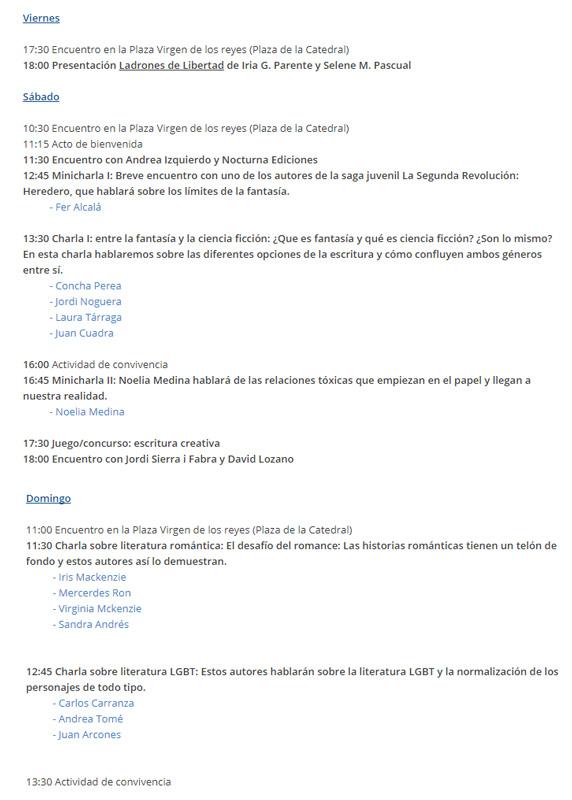 Horario de la Andalucía Reader Con 2017
