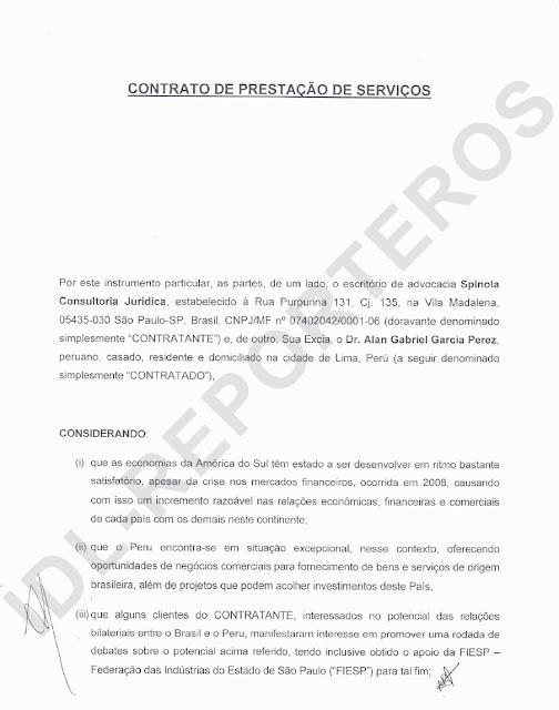 Contrato de pago simulado de US$ 100 mil para Alan García