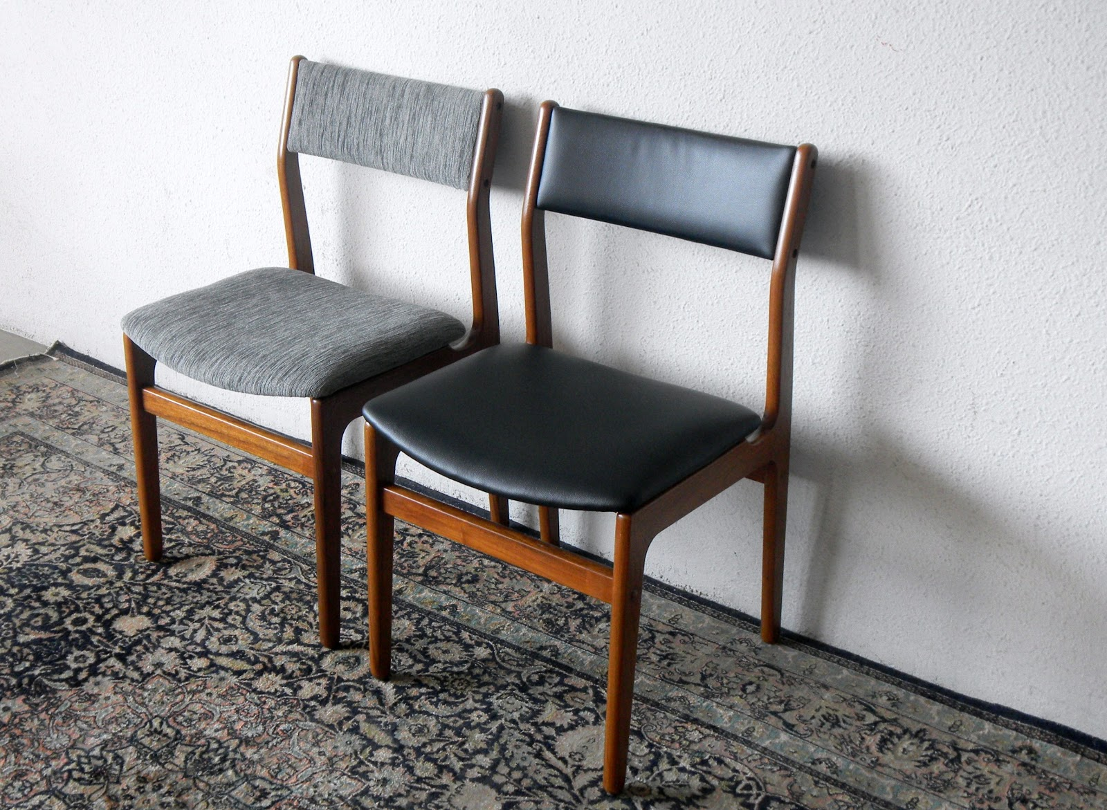 Mid Century Modern Dining Chairs Red And Reupholstered