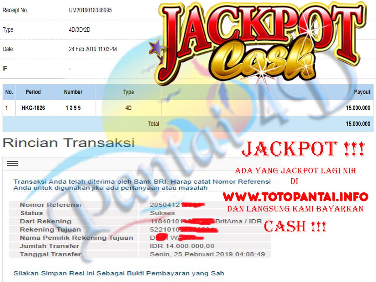 JACKPOT !!! LANGSUNG KAMI BAYAR CASH. Modal hanya Rp.5.000 menang JACKPOT PAUS 15 JUTA langsung di bayar CASH !!!!